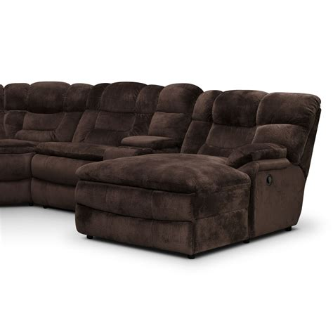 Recliner Sectional by Big Softie 6 Power Reclining Sectional With Right Facing Chaise Chocolate American
