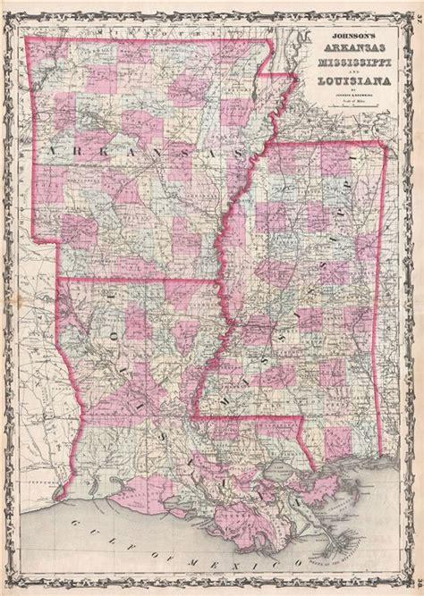 louisiana arkansas map johnson s arkansas mississippi and louisiana
