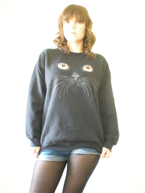 Blackcat Sweater womens black cat slouchy sweater