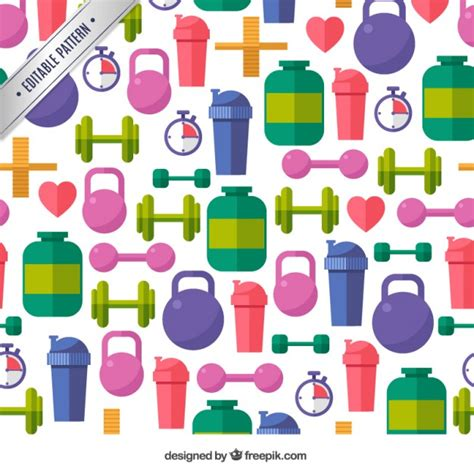 sport pattern background free gym icons pattern vector free download