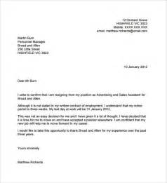 Resignation Letter Templates by Sle Resignation Letter No Notice 7 Free Documents In