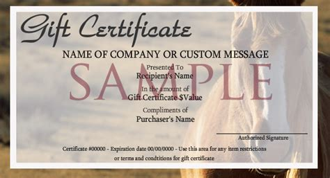 printable gift certificates with horses gift certificate template horse gallery certificate