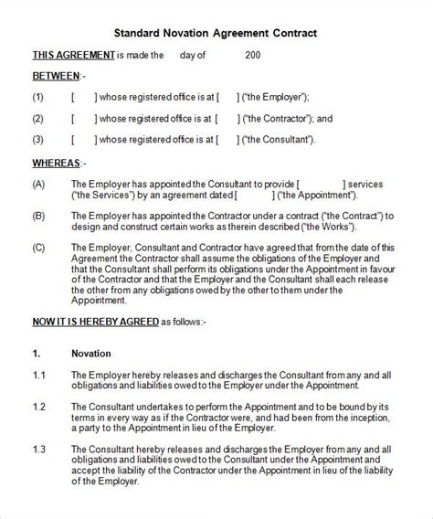 framework agreement template novation agreement 6 free pdf doc