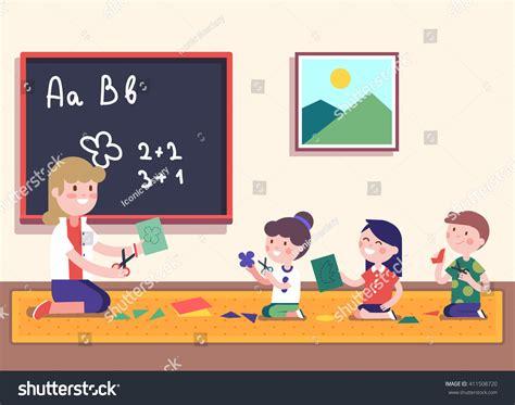 kids learning math clipart kindergarten teacher teaching math her small stock vector 411508720 shutterstock