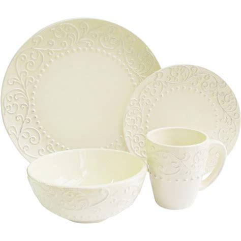 american atelier bianca cream 16 piece dinnerware set walmart com