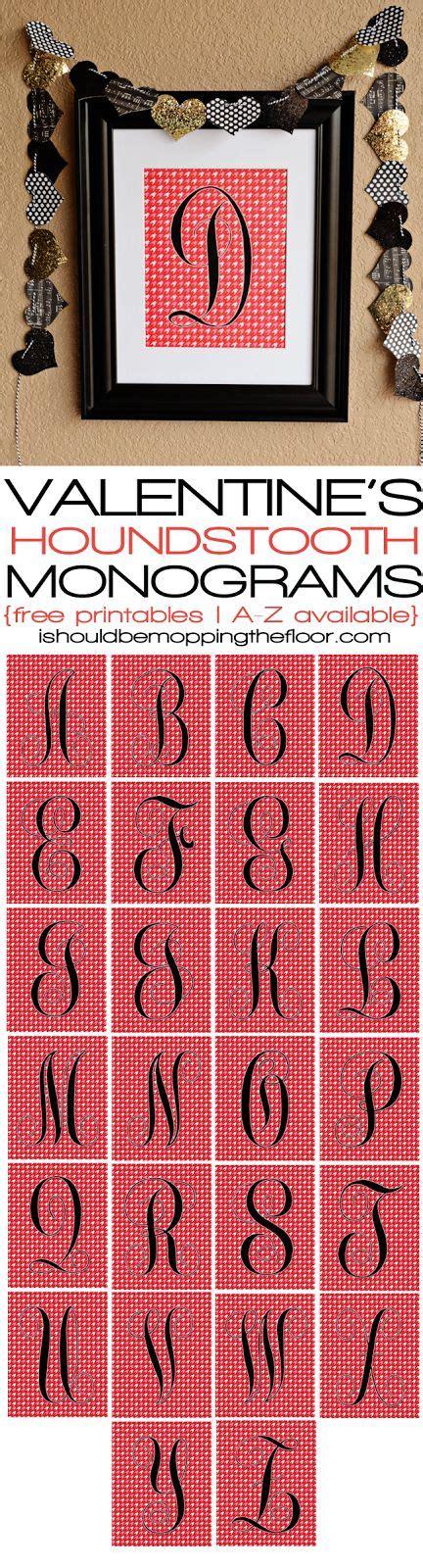 valentines free printable alphabet letters houndstooth valentine s free printable monograms free