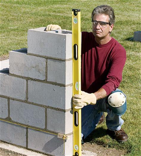 build a wall building a concrete block wall building masonry walls patios walkways walls masonry diy
