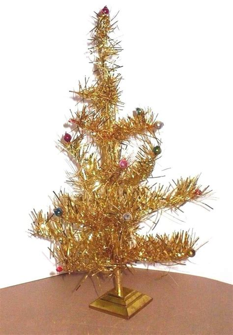 vintage tinsel tree vintage small 14 1 2 in gold tinsel tree with glass japan ebay