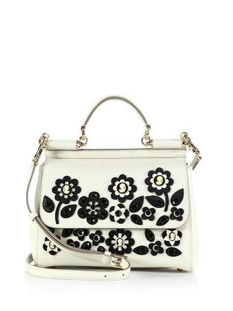 Dg Dolce And Gabbana Floral Canvas Satchel by Dolce Gabbana Sicily Medium Floral Cameo Textured