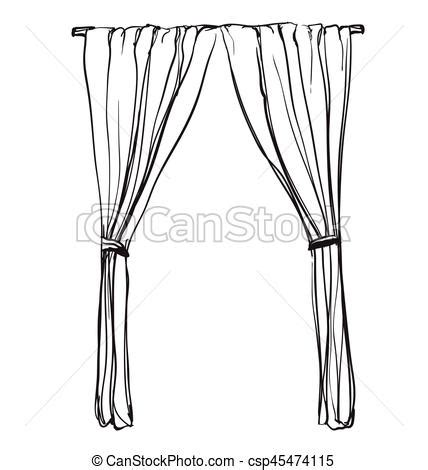 interior artistic stock vectors vector clip art curtains sketch hand drawn interior illustration windows