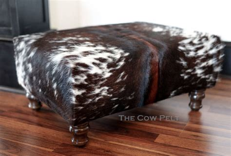 cow skin ottoman handcrafted cowhide ottoman dark rich brown and white