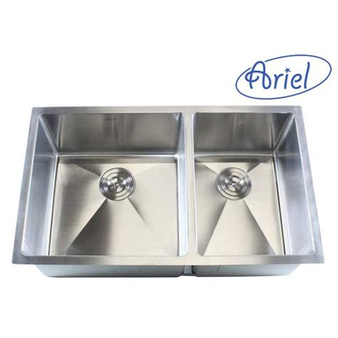 ariel 32 inch stainless steel undermount 60 40 bowl