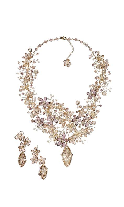 swarovski jewelry ideas jewelry design bib style necklace and earring set with