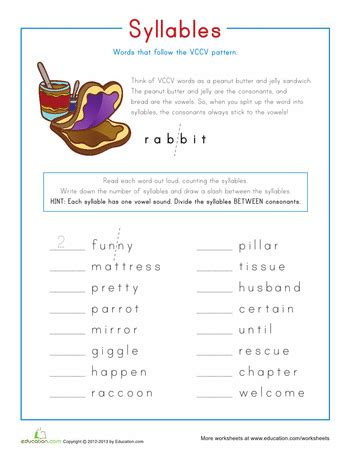 syllable pattern cv words syllable patterns vccv worksheets syllable and patterns
