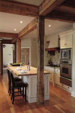 kitchen island with structural post timber frame kitchen home desires cabin kitchens functional kitchen and