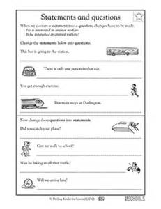 3rd grade writing worksheets statements and questions