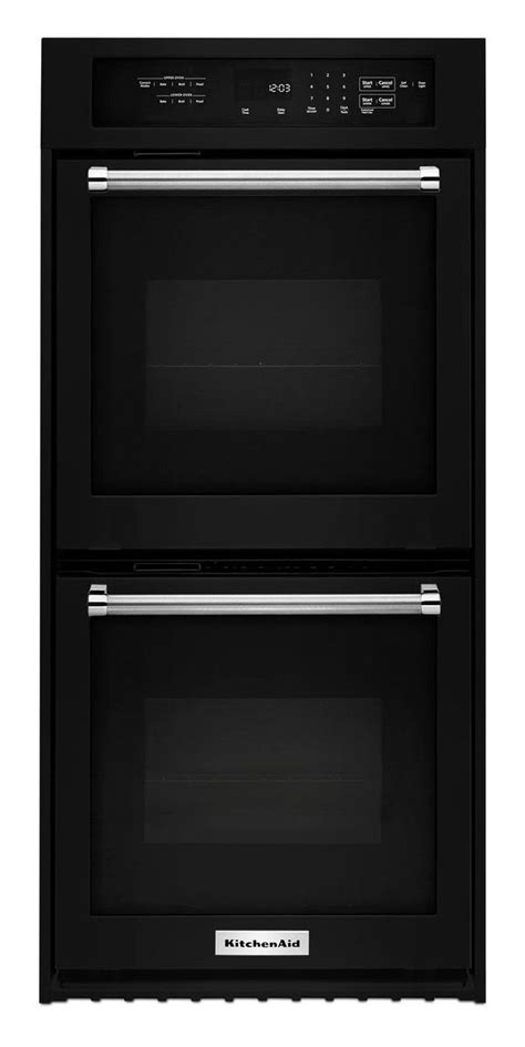 kitchenaid  black double wall oven kodcebl