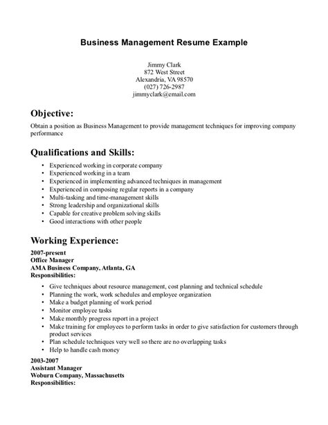 Company Resume Templates by Business Management Resume Getessay Biz