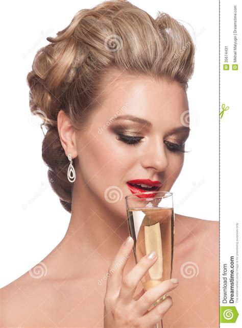 haircuts drink woman with glass of chagne stock image image 35674431