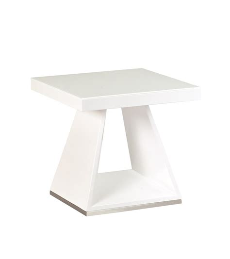 High Gloss Side Table White High Gloss White Glass L Side Table Homegenies