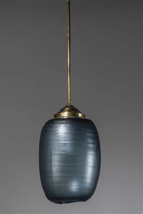 blue glass pendant light blue cut glass pendant light with distressed brass rod and