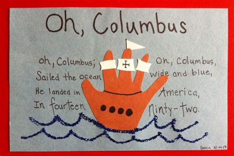 columbus day crafts for handoutline or fingerprint columbus day craft crafts
