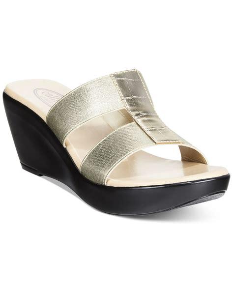 Wedges Bb 08 M0ca lyst callisto ali wedge sandals in metallic