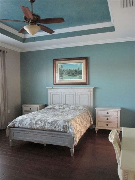 paint ideas for bedrooms with tray ceiling wall in sherwin williams quot underseas quot tray ceiling