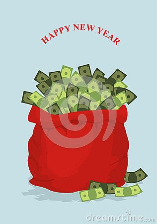 change money for new year happy new year big bag of money gift bag