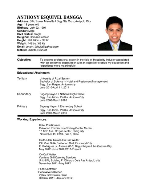 resume format for management students sle resume for hotel and restaurant management