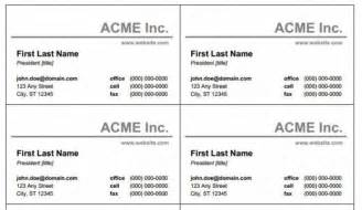 free blank and printable business card templates for