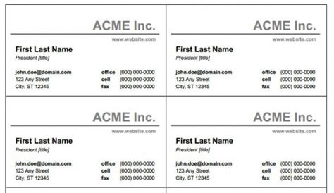 Business Card Template Excel by Microsoft Office Word Business Card Template Boblab Us