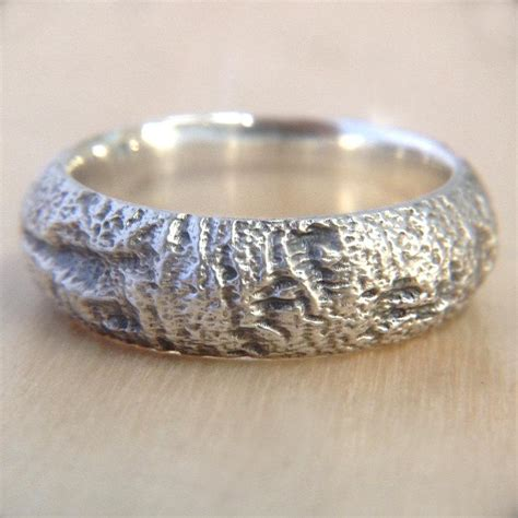 Bark Design Wedding Ring by Redwood Tree Bark Wedding Ring In Recycled Silver Mens