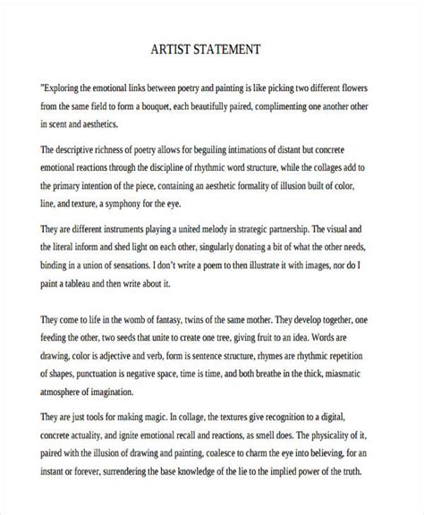 artist statement template 10 artist statement exles sles pdf