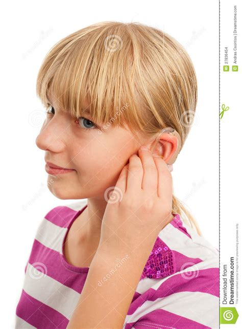 wraring hearing aid washed hair wearing a hearing aid stock photo image of close detail