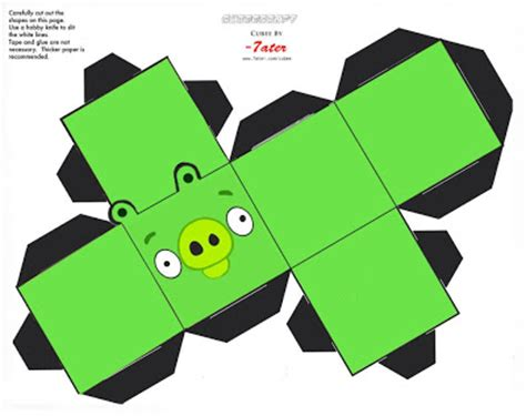 Angry Birds Papercraft - bad green piggie angry bird papercraft
