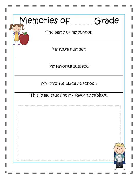 memory template free printable book report