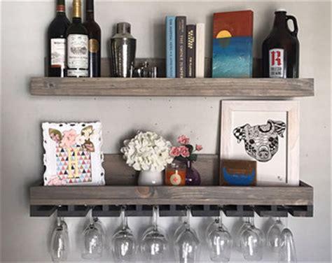 Hanging Bar Shelf by 24 Rustic Wood Wine Rack Shelf Stemware Glass Holder