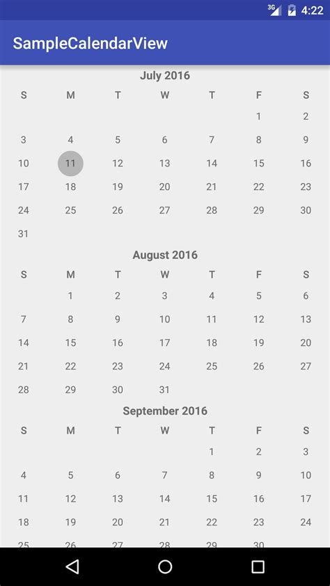 android layout width wrap content android calendar view months displayed continuously