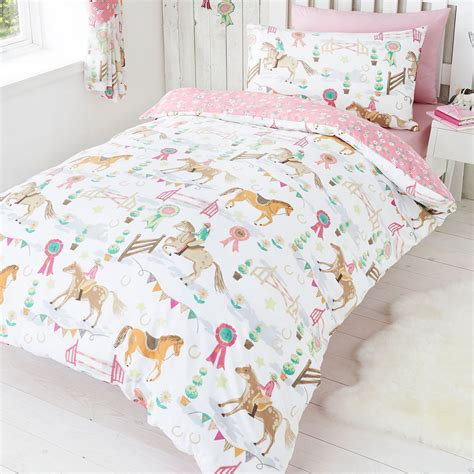 Equestrian Bedding Sets Pony Jumping Show Time Duvet Quilt Cover Prize Bedding Set Pink