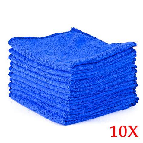 car microfiber towels 10pcs absorbent microfiber towel car home kitchen washing clean wash cloth blue ebay