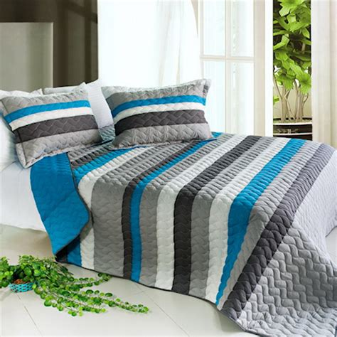 Blue amp grey striped teen boy bedding black white stripe full queen