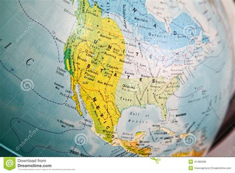 map of the united states close up united states map on a globe stock image image 41480599