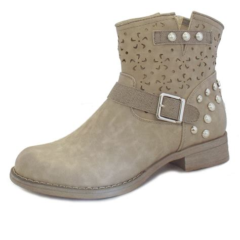 rieker boots beige faux leather ankle boots mozimo
