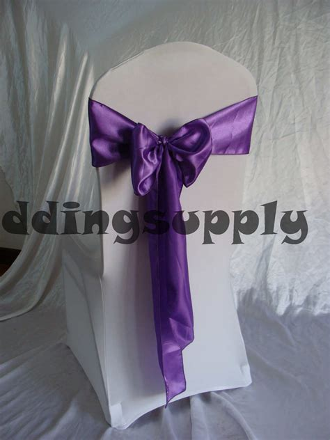 200 purple satin chair sashes for chair wedding chair