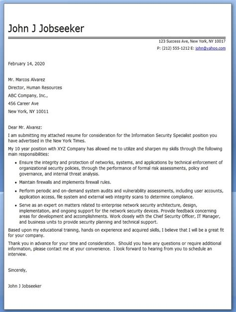 Security Cover Letter by Information Security Specialist Cover Letter Resume Downloads