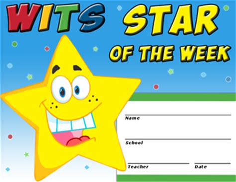 printable star of the week form wits gt wits for schools