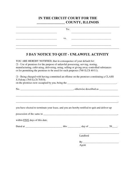 Free Illinois 5 Day Notice To Quit Form Unlawful Activity Pdf Word Do It Yourself Forms 5 Day Notice Illinois Template