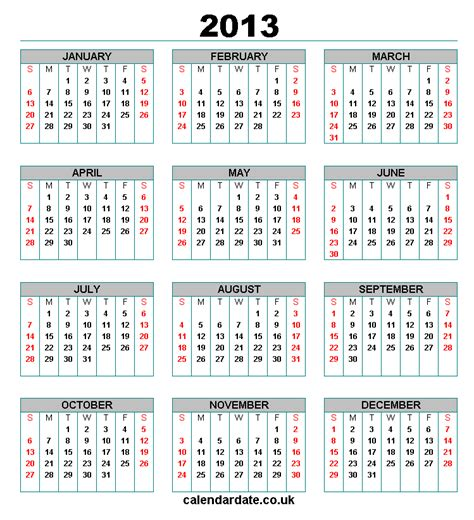2013 Calendar With Holidays 2013 Calendar Printable With Uk Holidays Models Picture