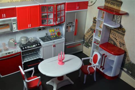 barbie doll house furniture sets barbie size dollhouse furniture modern comfort dining room and kitchen set ebay